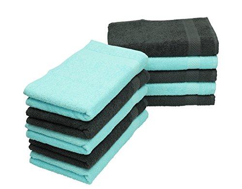 Betz Lot de 10 serviettes débarbouillettes PALERMO taille 30x30 cm couleurs gris anthracite & turquoise
