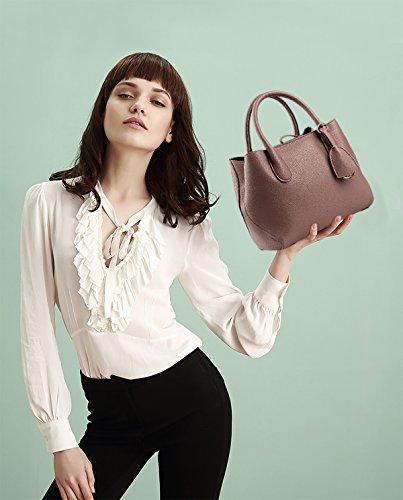 NICOLE&DORIS Donne Boutique moderno ed elegante maniglia superiore borsa del messaggero della borsa della spalla del Tote casuale del lavoro Bauletto Marrone Marrone