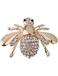 Preciosa Pequena Abeja De La Miel Diamantes De Imitacion Broche De Oro Para Las Mujeres
