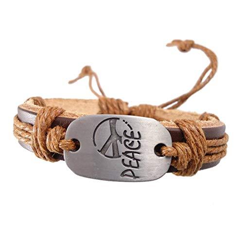 Klassische Metallic-gürtel (SHOUAQI lederarmband für männer Mode handgemachte gewebte Buchstaben Charme gürtel echtes Leder wickelgürtel Vintage armbandschmuck Frauen männer)