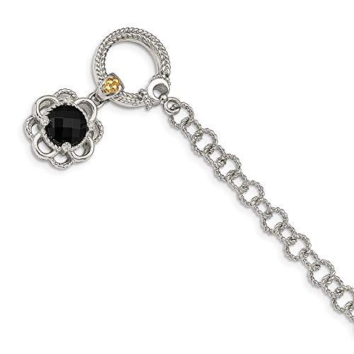 Knebelarmband Sterling-Silber 925 14 Karat künstlicher Onyx und Diamant 19,1 cm