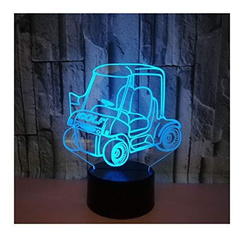 WFTD 3D Golf Cart Illusion Lampe, 7 Farben LED Touch Nachtlichter mit Fernbedienung Nachttischlampe - Batterie & USB Powered Battery Powered Golf Cart