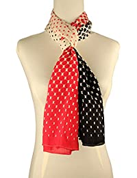 Vozaf Women's Viscose Stoles & Scarves - Red Black And White With Polka Dots