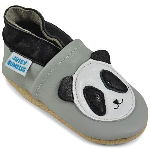 Juicy Bumbles - Weicher Leder Lauflernschuhe Krabbelschuhe Babyhausschuhe mit Wildledersohlen. Junge Mädchen Kleinkind- Gr. 6-12 Monate (Größe 20/21)- Panda