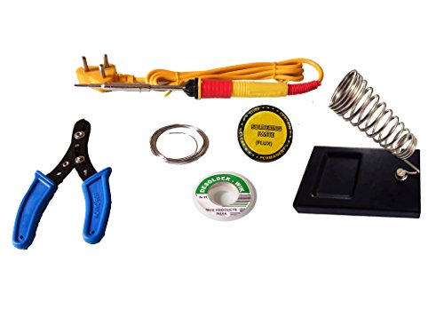 AptechDealz Soldering kit 6 in1 Electric Soldering Iron Stand Tool Wire Stripper Kit 25 Watt highquality iron  available at amazon for Rs.319