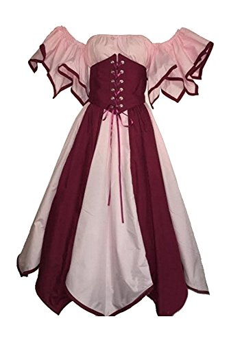 Kostüm Damen Damenkostüm aufwändiges Kleid mit Haube Mittelalter Romantik Elfe Gotik Gothic Burgfräulein Rosa ()