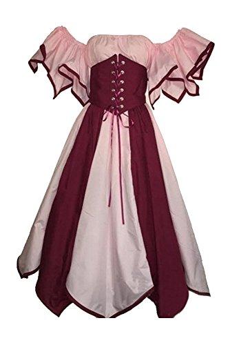 Stretch Kostüm Falten - Damen Renaissance Maxikleid Falten Empire Kleid Stretch Tailliert Kurzarm Rosa XXXL