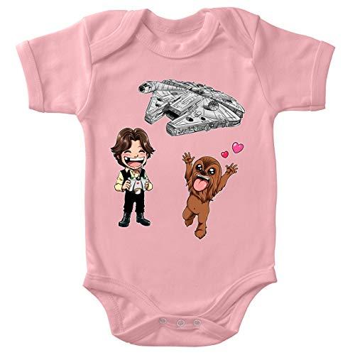 Star Wars Lustiges Pink Baby Strampler (Mädchen) - Han Solo und Chewbacca SD Karikaturen und Das Falcon Millenium Mini Drone (Star Wars Parodie) (Ref:1096)