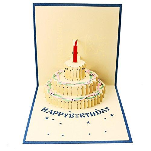 Geburtstag Pop-Up-Karte 3D Handgefertigt Geschenk Happy Birthday Kuchen Grußkarten mit Umschlag für Kinder Freunde Dad Mom Familie, blau, 5.9x5.9inch (Kinder Geschenke, Karten,)