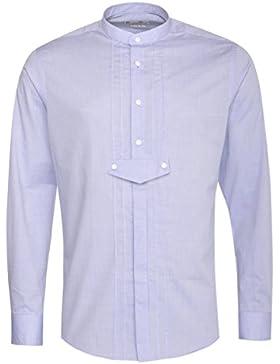 Gweih & Silk Trachtenhemd Body Fit Sebastian in Blau mit Biesen