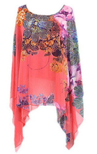 Bigood Mode Elegante Chiffon Hemd Damen Chiffon Bluse Frau Bunt Blüte Deko Loose-fit One Size Pink