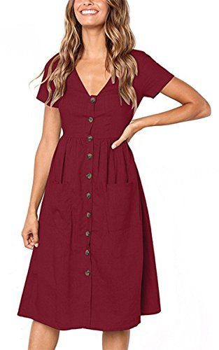 Angashion Women's Short Sleeve Casual Summer Dress with Pockets Wein Rot M