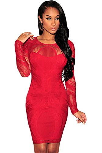 Damen Rot Spitze Illusion lang Sleeve Bodycon Mini Kleid Club Wear Party Abendkleid Größe UK 12EU 40 (Illusion-mieder-kleid)
