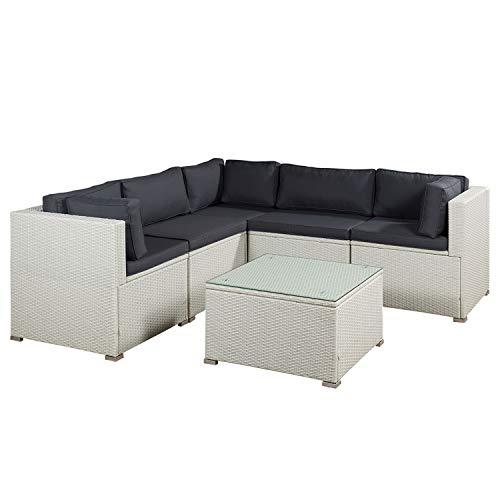 ArtLife Polyrattan Lounge Nassau weiß | Gartenmöbel-Set mit Ecksofa & Tisch | dunkelgraue Bezüge | Sitzgruppe für Terrasse & Wintergarten -