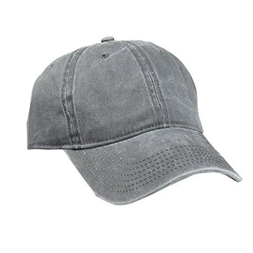 TININNA Unisexe Jean Sport Bonnet ,Casual Casquette de baseball Visière,Chapeau de Soleil en Denim Gris Foncé