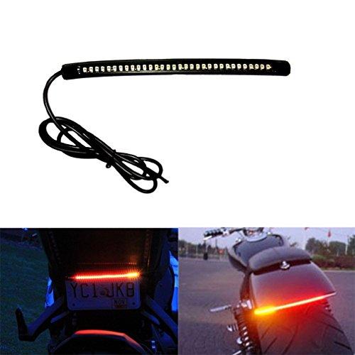 Qiorange Universal Flexible 32 LED Motorrad Streifen Licht Bremsen Blinker Ruecklicht Kennzeichenbeleuchtung (32 SMD)