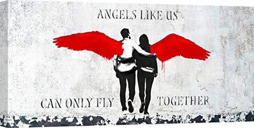 Art Print Cafe - Kunstdruck auf Leinwand - Graffiti & Street Art - Masterfunk Collective, Angels Like Us - 120x60 cm - Cafe Leinwand