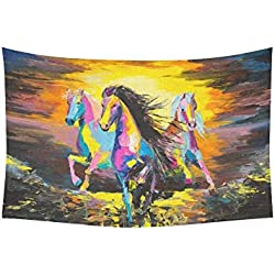 "DHFISE Tapiz Horses On A Sand Original Oil Painting On A Paper Tapestries Wall Hanging Flower Psychedelic Tapestry Wall Hanging Indian Dorm Decor For Living Room Bedroom 80"" X 60"" Inches"