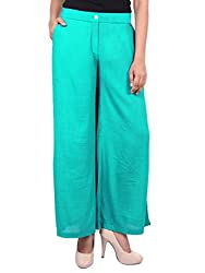 GOODWILL Womens Casual Rayon Crepe Solid Palazzo-Turquoise_GW-907_M