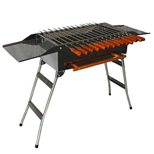 Andreas Dell Grill BBQ Holzkohlegrill Standgrill Mangal Schaschlik + 14 Spieße + Grillrost