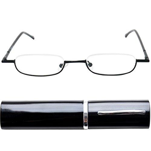 Leichte Metall Mini Halbbrille Lesebrille | Edelstahl Rahmen (Schwarz) | GRATIS Slim-Fit Alu Etui | Lesehilfe für Damen und Herren von Mini Brille | +1.5 Dioptrien (Herren-1.5)