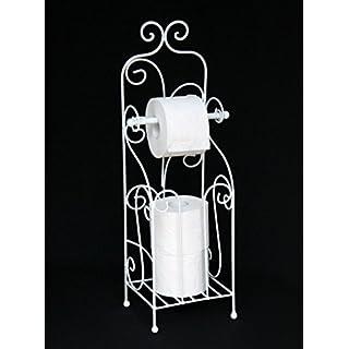 DanDiBo Toilettenpapierhalter Antik Weiß Metall HX13608 WC Rollenhalter Freistehend Vintage WC Papierhalter Shabby Chic