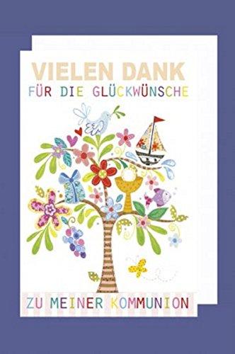 FesteFeiern zur Kommunion I 5 Teile Danksagung Karten Doppelkarten mit Briefumschlägen I Baum bunt mit Boot I Danke zur Kommunion (Danke-karten Band)