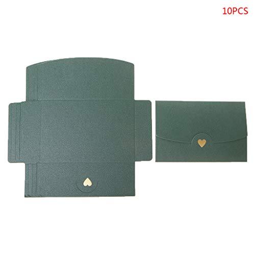Jiay 10 Stück Blank Briefumschläge Mini Herz Papier Retro Einladung Hochzeit Umschlag Briefumschläge Grußkarten grün