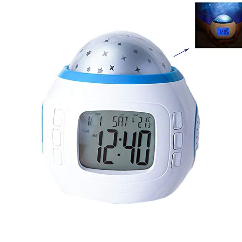 JINRU Despertador Digital, lámpara del proyector de la Estrella, luz de la Noche con la cabecera, Fuente de alimentación de USB/Battery