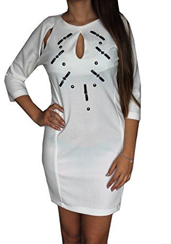 Abito donna dress elegante artigli bianco con pietre look fashion robe estate made in italy, bianco, 44