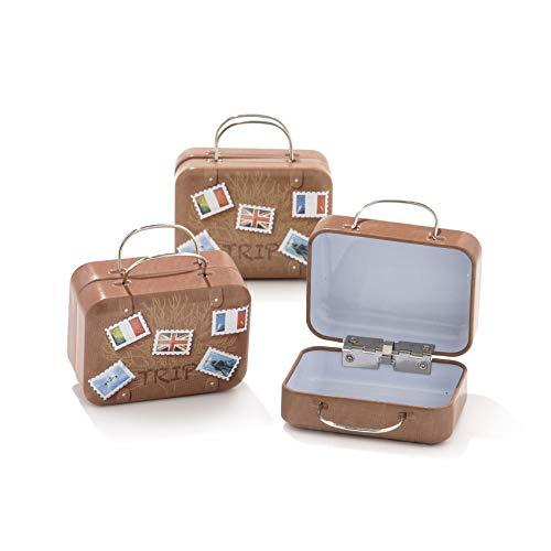 12pz scatola forma bagaglio valigia borsa in materiale ferro-portaconfetti bomboniere tema viaggio mondo (b6)