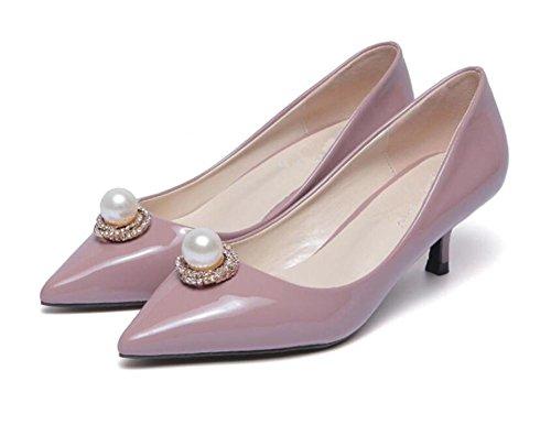 LDMB Frauen Perlen flachen Mund spitze Zehen dünn mit Mid-Ferse-Schuhe pink purple