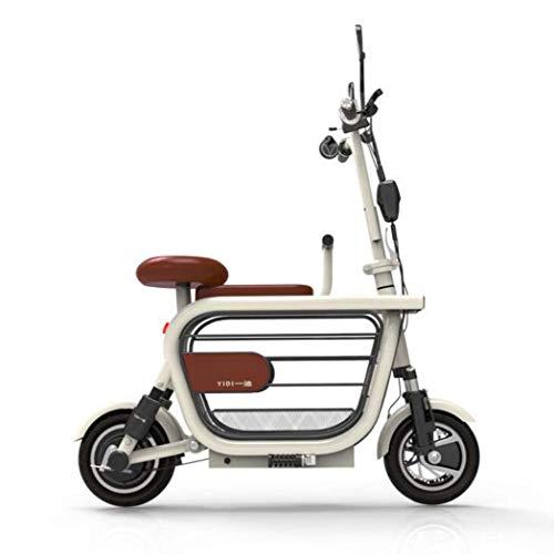 Auto elettrica pieghevole, mini scooter in lega da 10 pollici in lega di alluminio, batteria al litio, durata della batteria 20 km, velocità 25 km / h, auto elettrica da viaggio per studenti,White,E