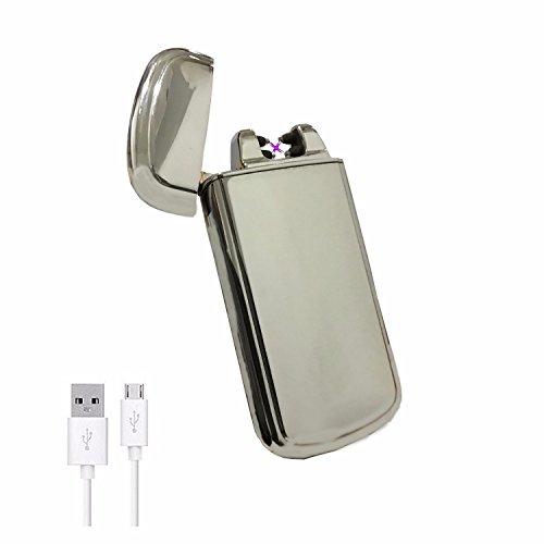 Elektronisches Feuerzeug SHAKE -The Flame- Sch&uumltteln zu Verwenden USB Zigarettenanz&uumlnder Feuerzeuge Aufladbar Double Lichtbogen (Silber)
