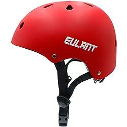 EULANT Casco Bici Niño, Casco Infantil para Monopatín Bicicleta Patinaje Scooter Esquiar, Tamaño de la Cabeza: 48-57cm, Rojo