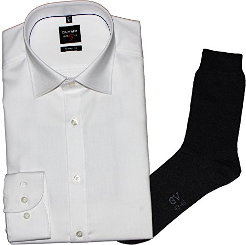 OLYMP Herrenhemd LEVEL FIVE, Body fit, Under Button-Down, weiß, Diamant Twill + 1Paar hochwertige Socken, Bundle Weiß