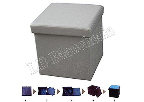 Puff contenitore poggiapiedi - Sgabello con coperchio cm 38x38x38 tinta unita tipo Coccodrillo - Grigio