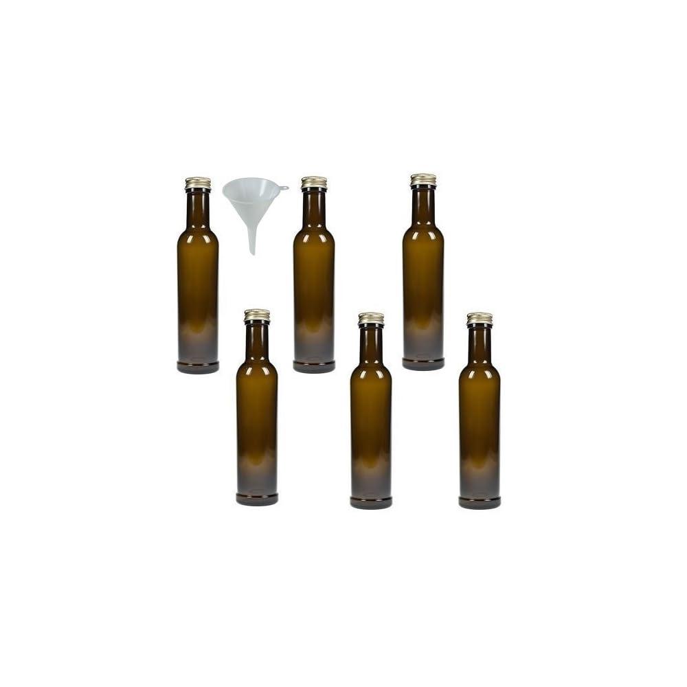 Viva Haushaltswaren 6 Glasflaschen Lflaschen 250 Ml Antik Braun Inkl Einem Trichter