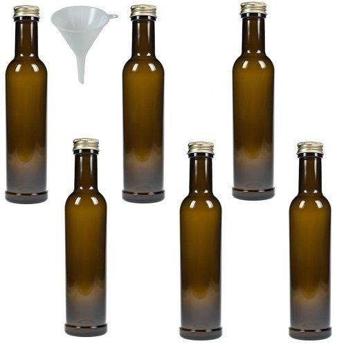 Viva Haushaltswaren - 6 Glasflaschen / Ölflaschen 250 ml antik braun - inkl. einem Trichter