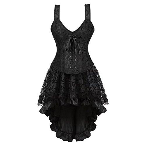 Korsett Kleid Schwarz Vollbrust Mit Träger Corsagenkleid Lang Spitenrock Petticoat Burlesque L