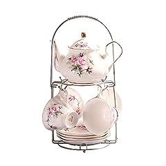 Idea Regalo - ufengke® Dipinto a mano Rosa Fiore porcellana Inglese Servizio da tè Tazza di caffè