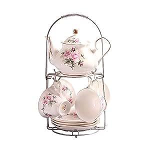 ufengke® Peint À La Main Rose Fleur Porcelaine D'os Service À Thé Tasse À Café
