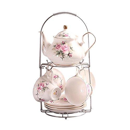 ufengke Handgemalt Rosa Blumen Bone China Tee-Set Kaffeetasse