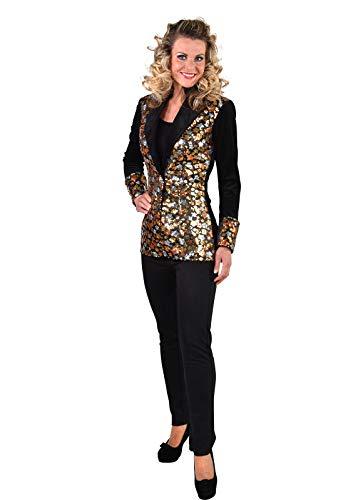 narrenkiste M219175-XS schwarz-bunt Damen Pailletten Blazer-Jacke Stars - Star Blazer Kostüm
