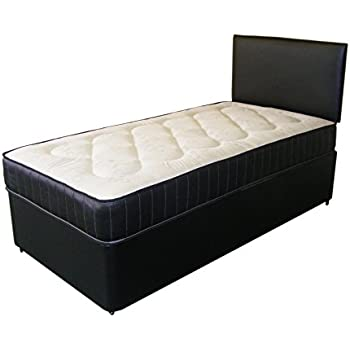 Single white deep quilt 3ft divan bed includes base for Single divan with drawers and headboard