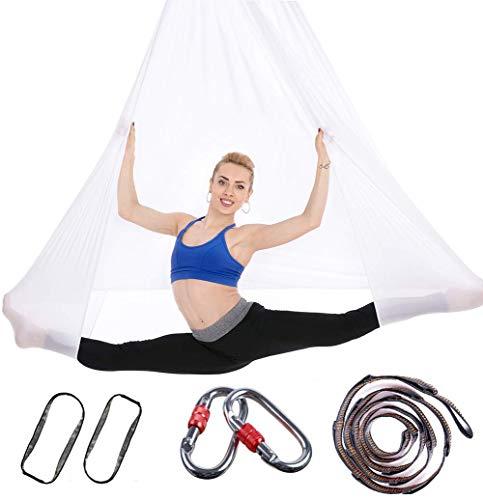Ayue® aerial set yoga amaca, premium tessuti aerei yoga altalena per antigravity yoga, esercizi inversione, migliore flessibilità e resistenza di memoria - accessori di montaggio inclusi