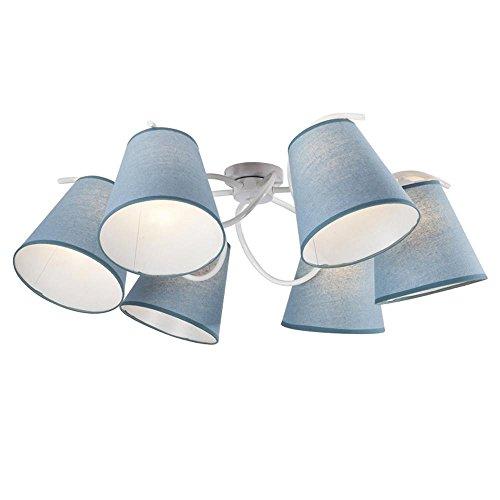 Modern Deckenleuchte Runde Design Deckenlampe Dekorative Decken Beleuchtung Wohnraumleuchten Esszimmerlampe Stoff Metall Leuchte Einfach Pendelleuchte E27 x 6 D94cm, Blau + Weiß - Blaue Decken-beleuchtung