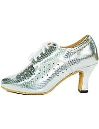 39b0d743 LL Mujer PU Tacon Alto Zapatos De Baile Modernos Liso Transpirable Zapatos  De Baile Latino Acogedor Tacón…