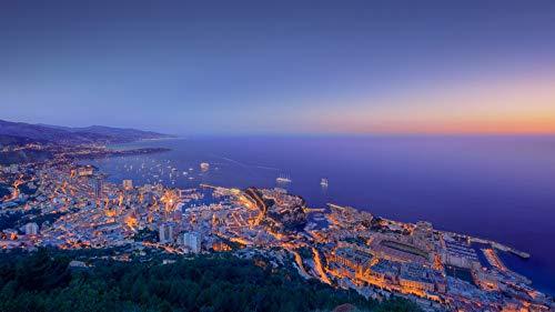 ClassicJP Puzzles 1000 Teile DIY Formel 1 Nacht Monaco Sonnenuntergang, Wasser, Ozean für erwachsenes Kind -