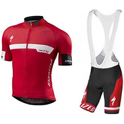 veinater hombre manga corta ciclismo Jersey y pantalones cortos en bicicleta babero para bicicleta, color rojo, hombre, color rojo, tamaño XL